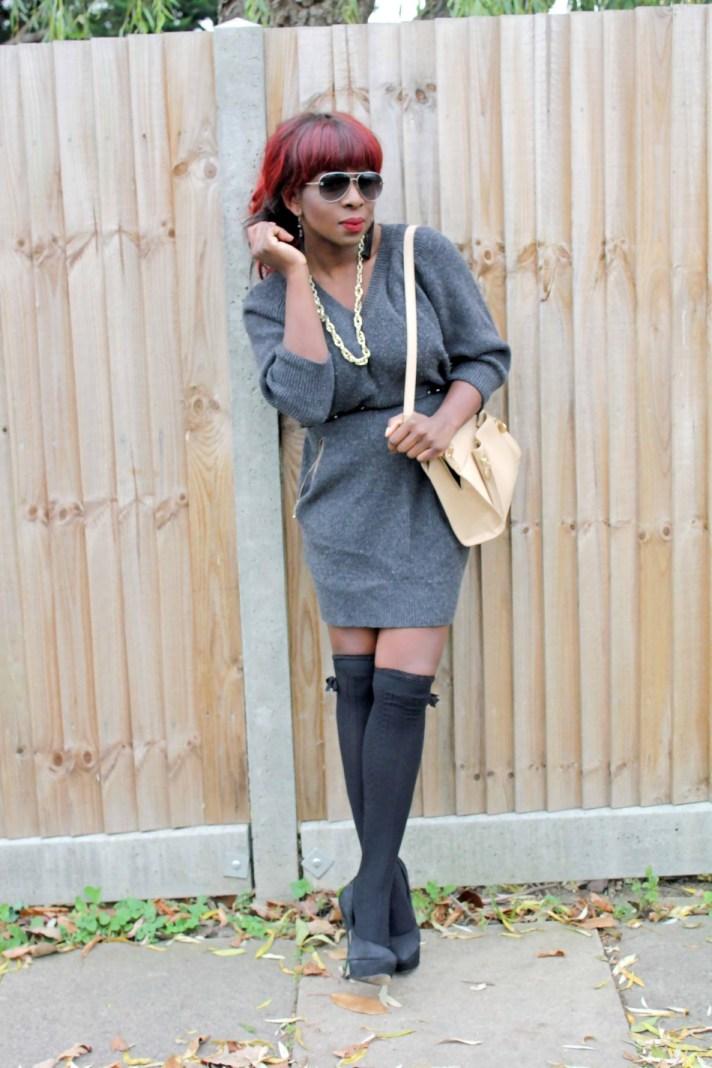 Sweater Dress + knee high socks