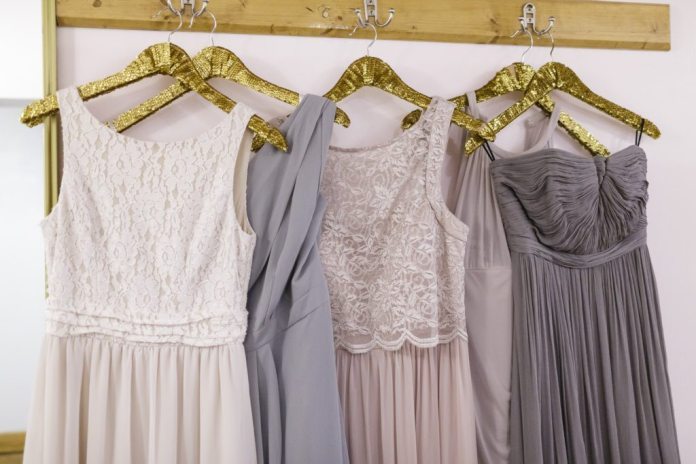 grey and neutral bridesmaid dresses