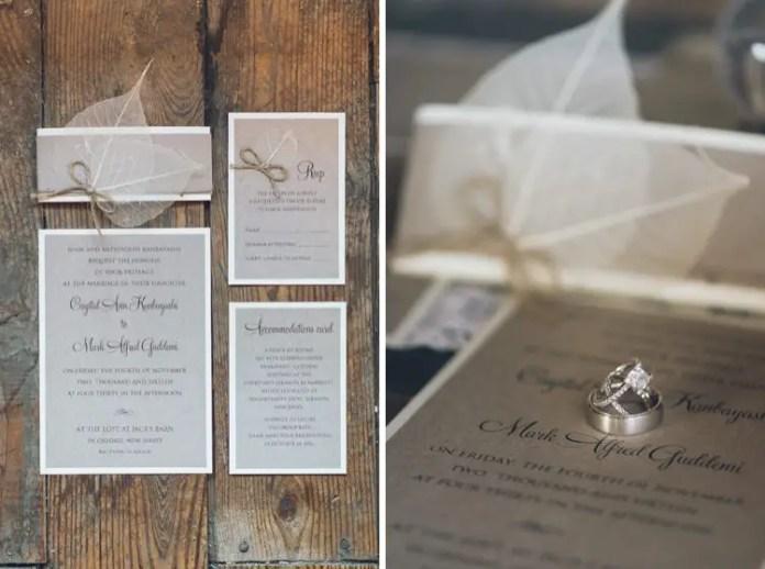 rustic leaf wedding invitations