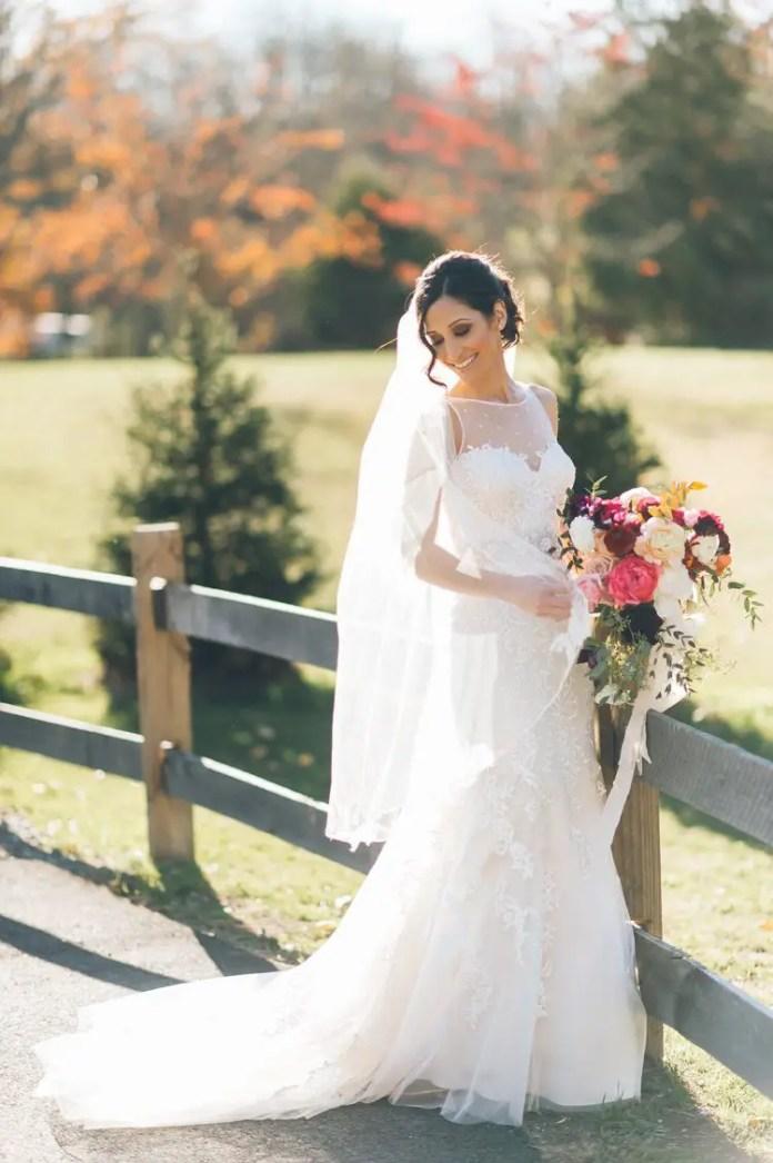 bride farm wedding fall