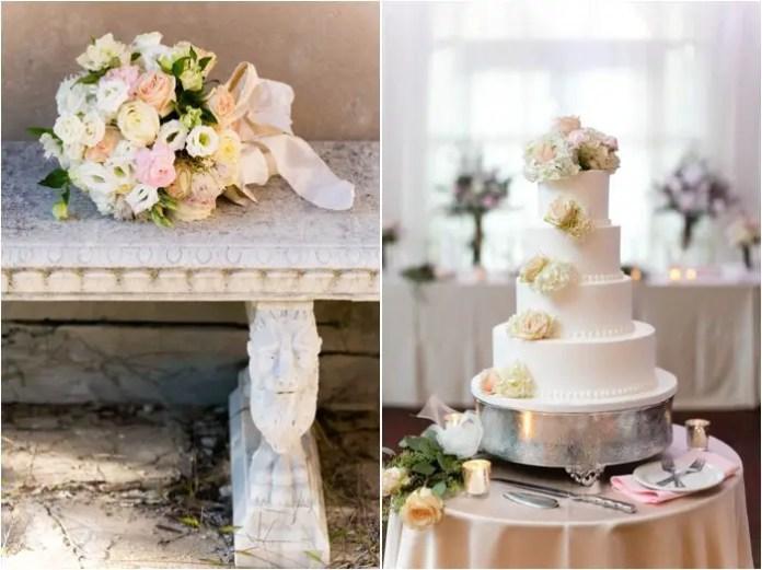 blush flowers white wedding cake