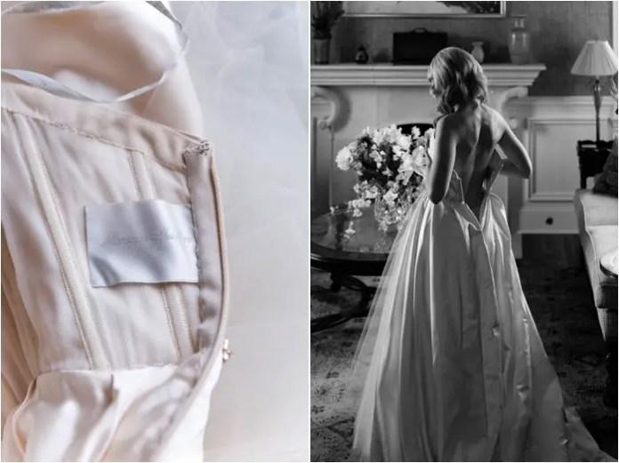 Monique Lhuillier blush gown bride