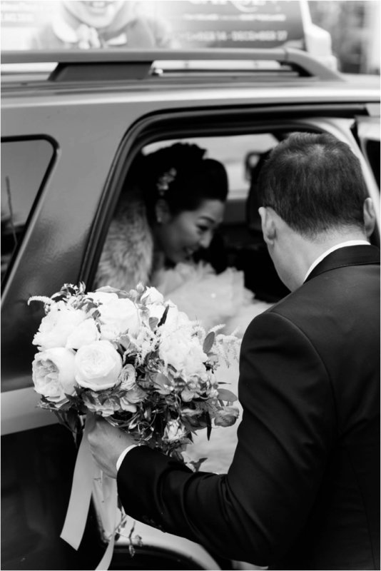 Rookery bride getting out of car