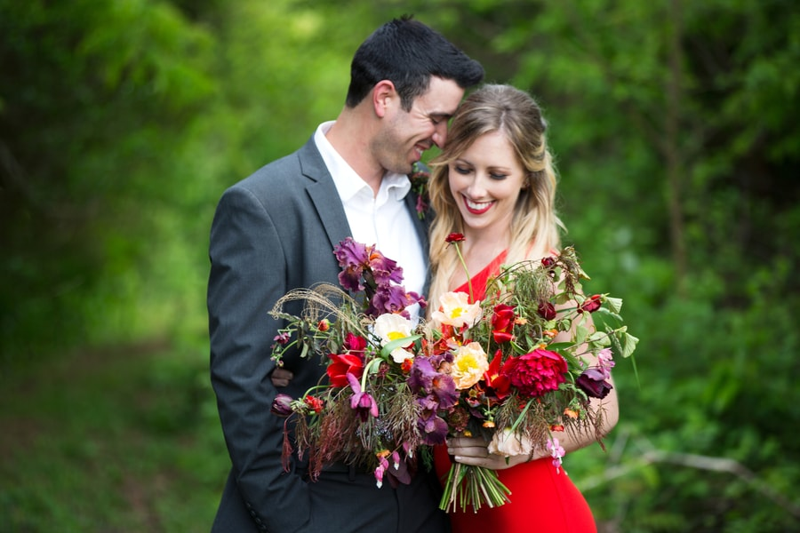 Elegant Red Dress Engagement Session in Pennsylvania