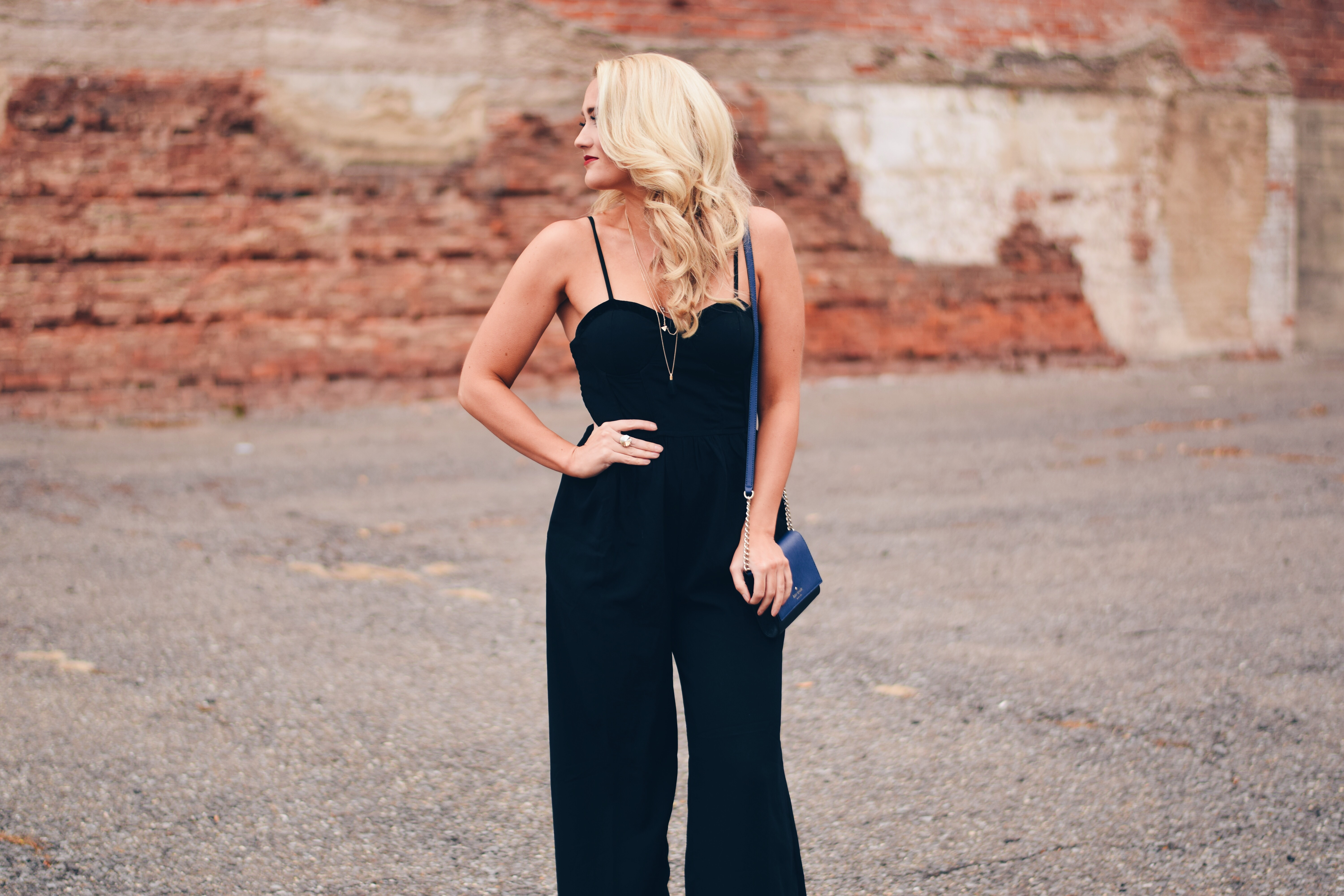 Black jumpsuit holiday outfit