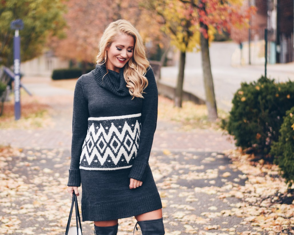 cozy sweater dress and boots