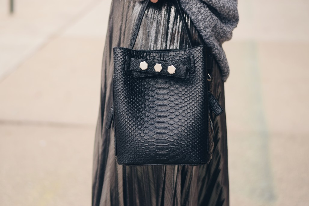 black top handle tote with silver studs