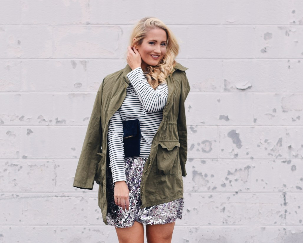 j crew sequin wrap skirt with striped top and green jacket