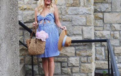 STRIPED PEEK-A-BOW DRESS