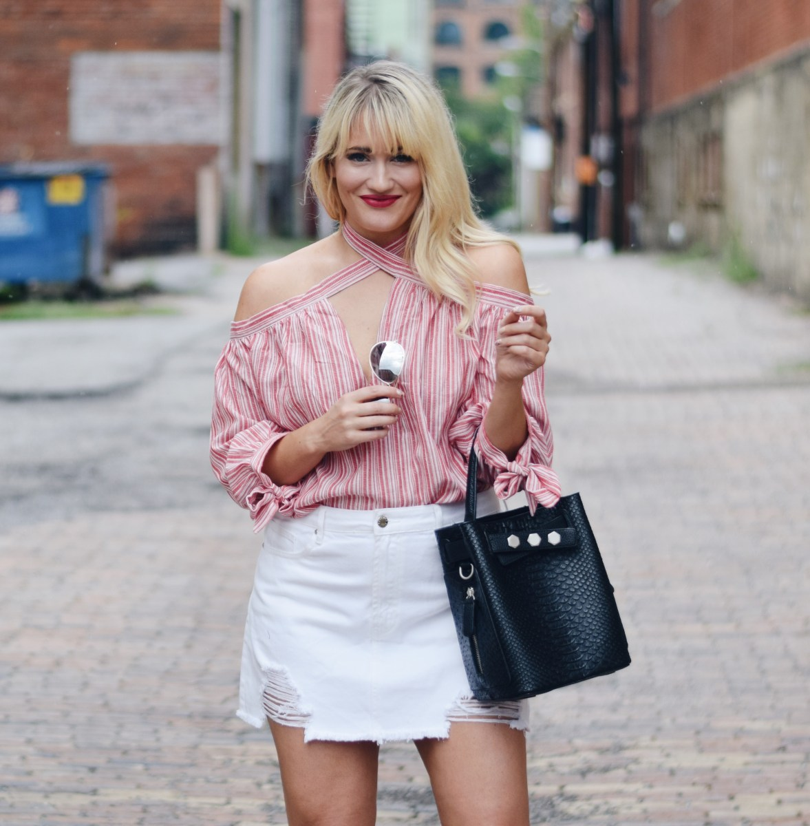PINK STRIPES + WHITE SKIRT