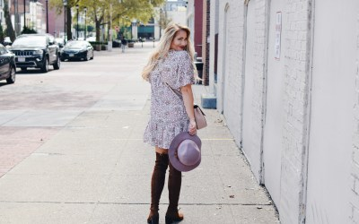 FLORAL DRESS AND OVER THE KNEE BOOTS