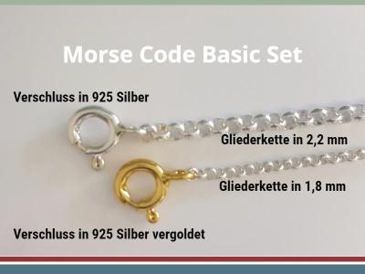 Basic Set Morse Code Armband (inkl. Zubehör/ Gliederkette 1,8 mm)