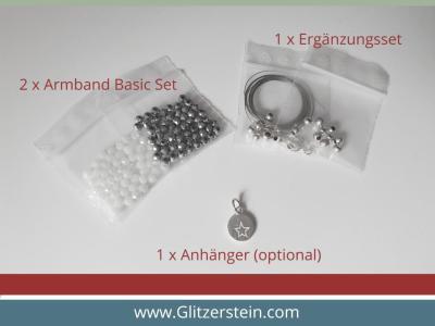 Karabiner-Ergänzungsset 925er Silber/ kurze Halskette (Verrechnungspreis nur gültig in Kombi mit 2 Armband-Basic Sets – Zubehör wird verrechnet)