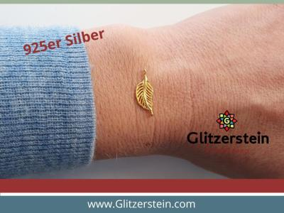 Schmuckverbinder Feder 925 Silber vergoldet