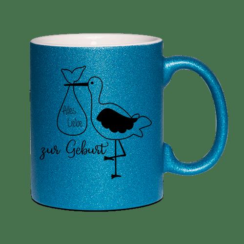 Glitzertasse Blau - Alles gute zur Geburt (Junge)
