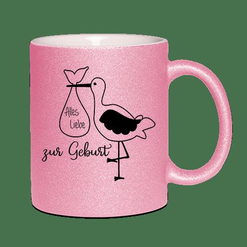 rosé glitzertasse alles gute zur geburt maedchen