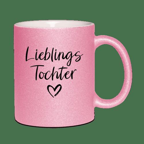 Lieblingstochter glitzer tasse