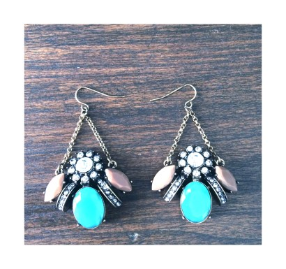 Turquoise and taupe chandelier earrings $15