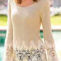Beige Patchwork Lace Long Sleeve Casual Acrylic Pullover Sweater