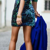 Malachite Green Plain Sequin Backless V-neck Sexy Mini Dress