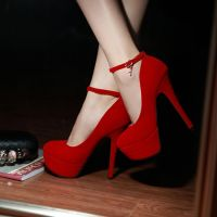 Sexy Charmed Ankle Strap Red High Heel Shoes
