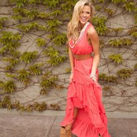 Country Club Ruffle Lace Dress Coral - Modern Vintage Boutique