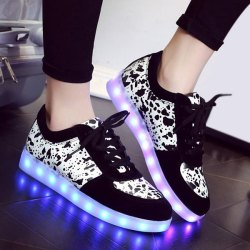 Black Trendy Lighted And Print Design Sneakers For Women | RoseGal.com