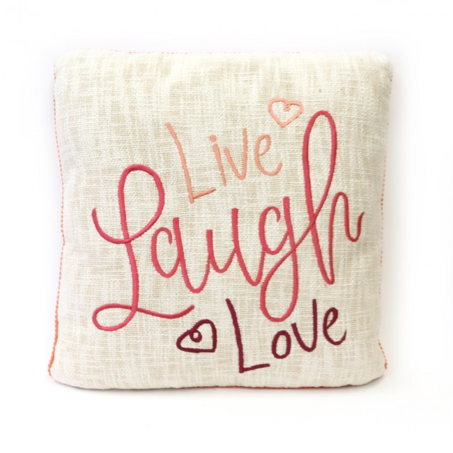 live laugh love hand embroidery design pillow by karma living