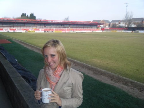 A cup of tea on a chilly morning at Accrington Stanley's football pitch, March 2010
