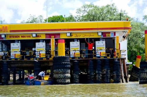 The petrol station on the water