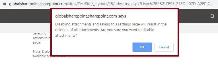 Disableorenableattachmentslistitems-SharePoint Online6