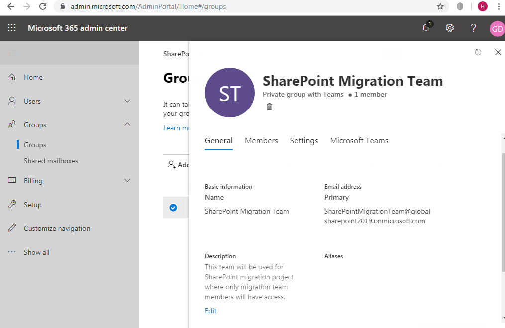 Office 365 connected group setting from Microsoft 365 admin center