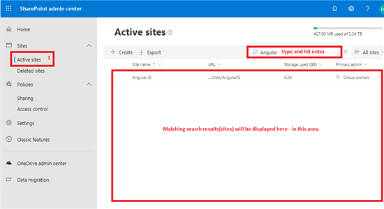 Search active sites from active sites dashboard in SharePoint admin center - Office 365 - Microsoft 365 admin center