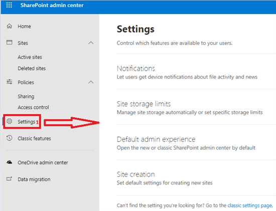 Centrally settings in SharePoint admin center