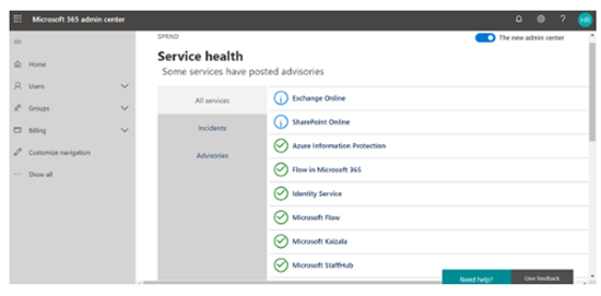 Service health center status in SharePoint admin center - Microsoft 365 admin center