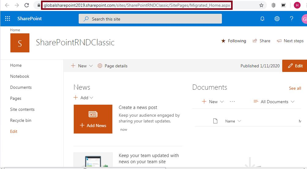 Migrated_home.aspx page: Convert classic SharePoint site page to modern page