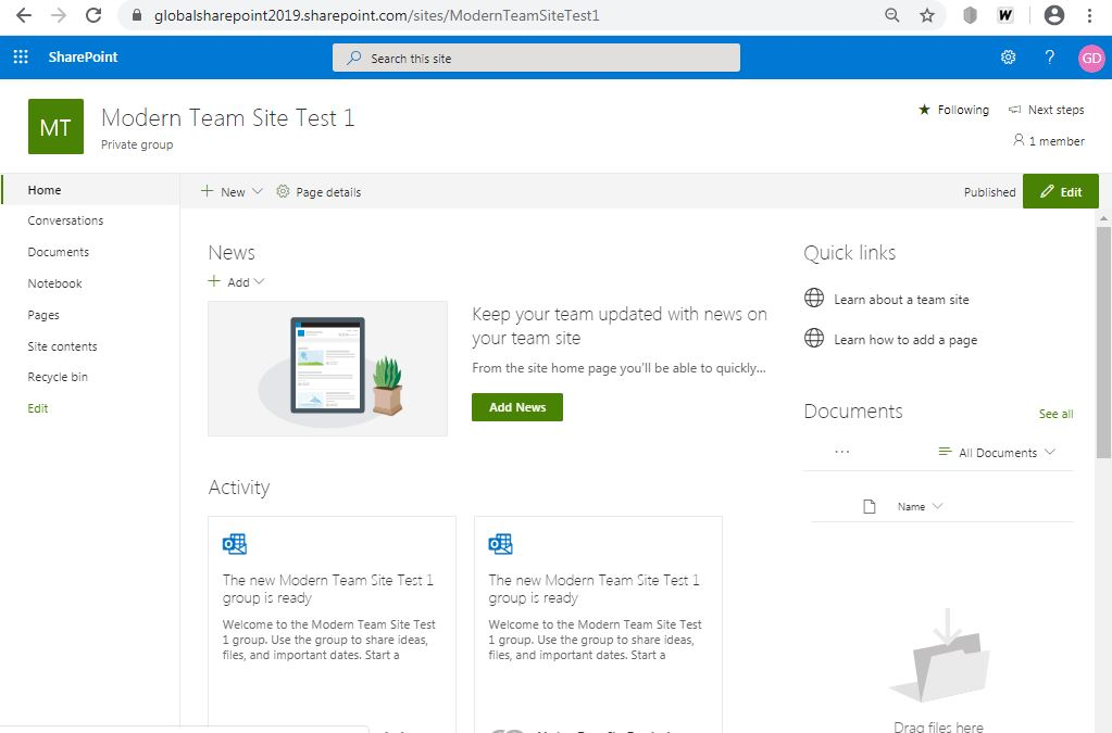 home site look and and feel: Create modern team site in SharePoint Online