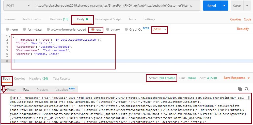 Add new item to SharePoint online list, POST status 200 accepted: Sharepoint Api - create new item in the list using Postman
