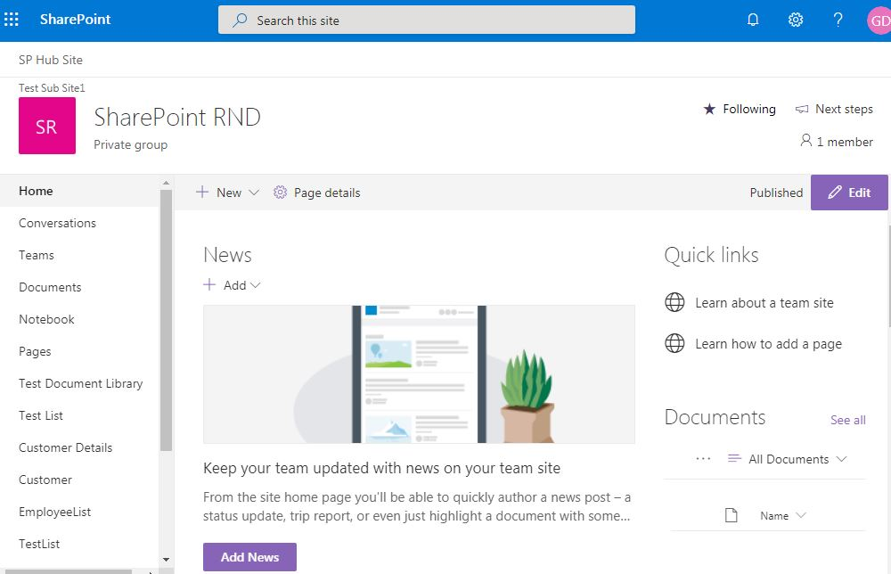 Example of modern home page: SharePoint online modern page