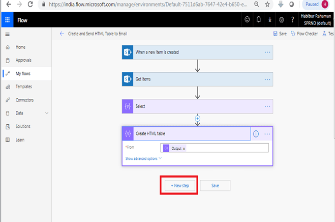 Create HTML table action - Select  in Microsoft flow power automate +Next Step