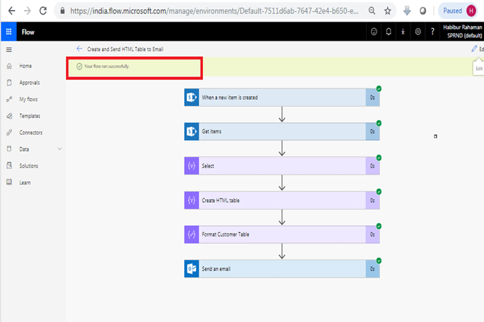Format HTML table in outlook using Microsoft flow power automate - Test Flow, Your flow ran successfully