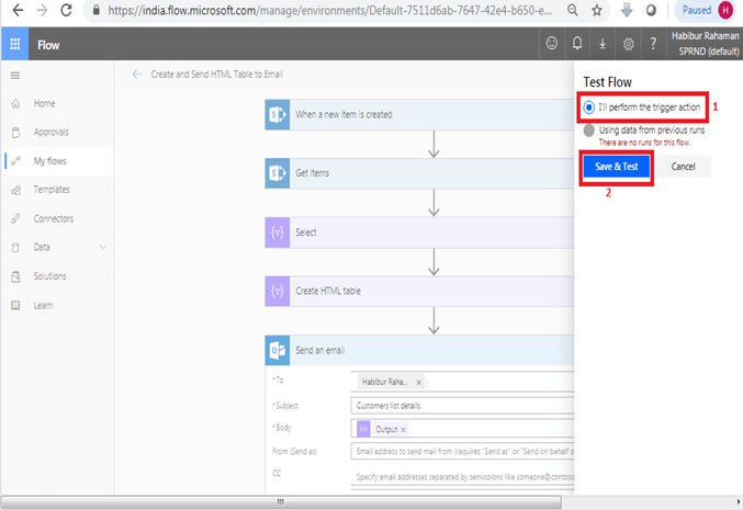 Send an email office 365 outlook Save & Test in Microsoft flow power automate