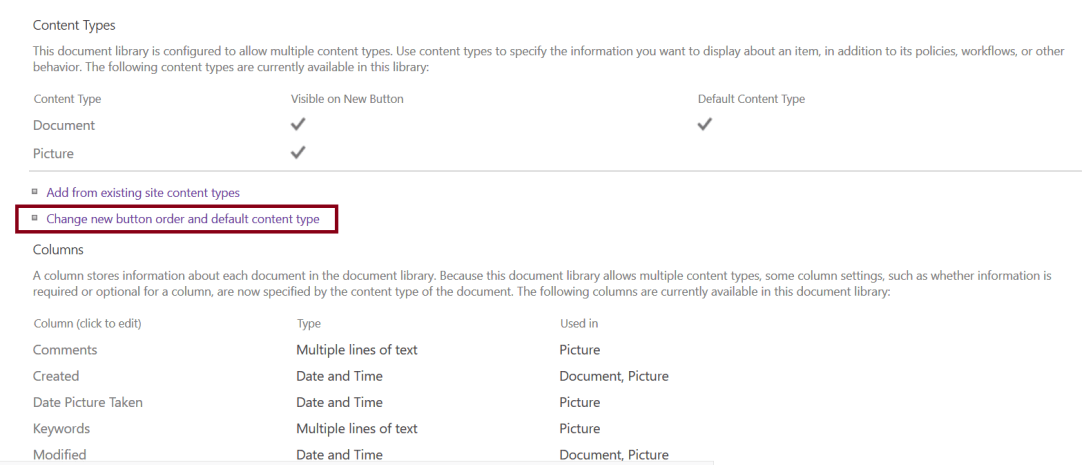 Change new button order and default content type - document library settings