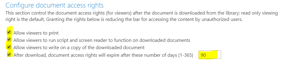 Information Rights Management Settings - Configure document access rights