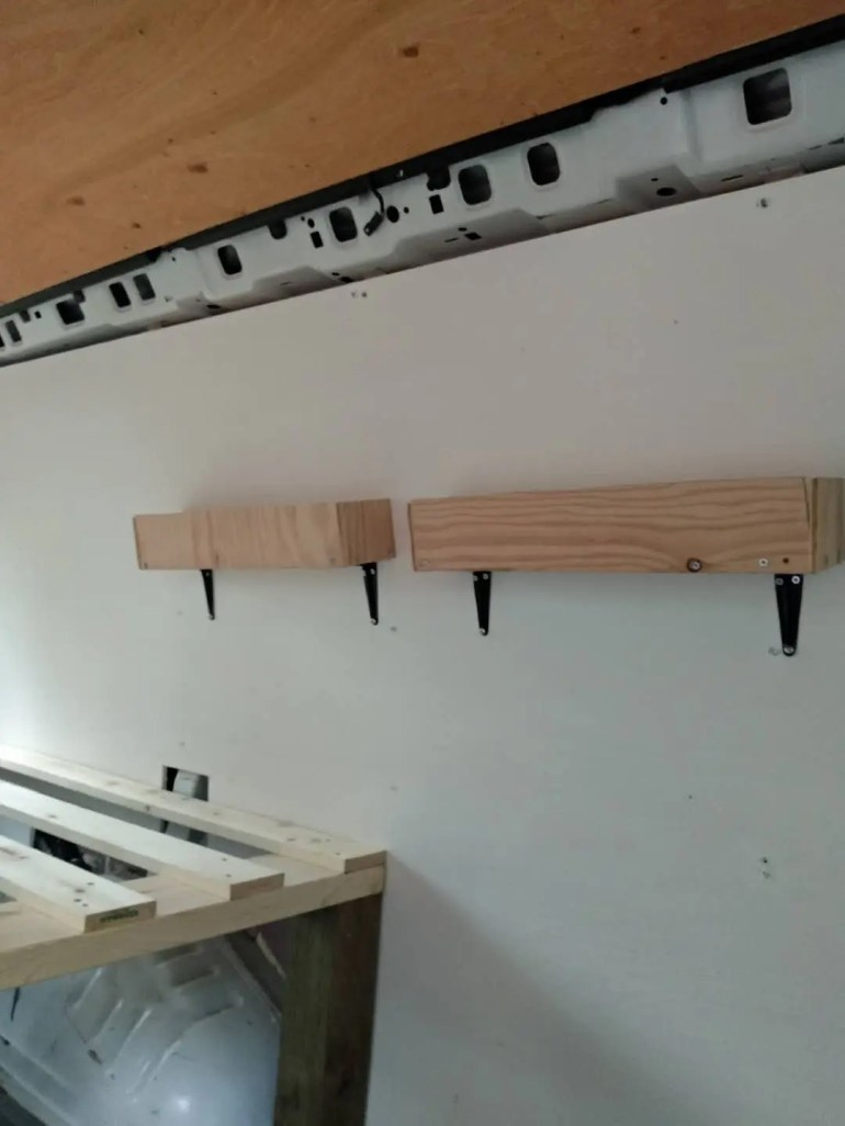 diy shelves van conversion