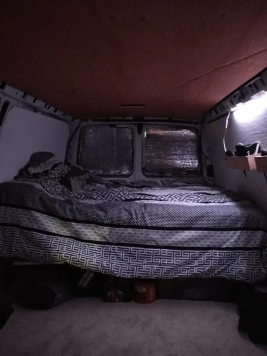 double bed in a van conversion