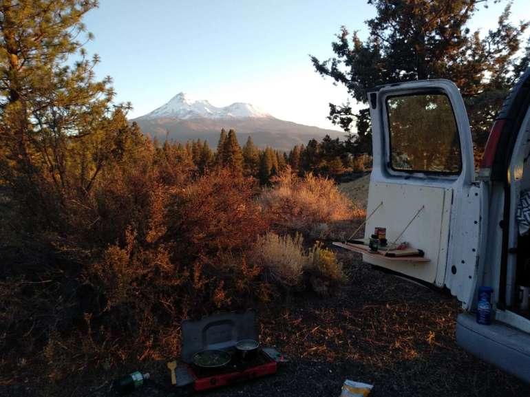 cooking dinner at my van conversion mount shasta views