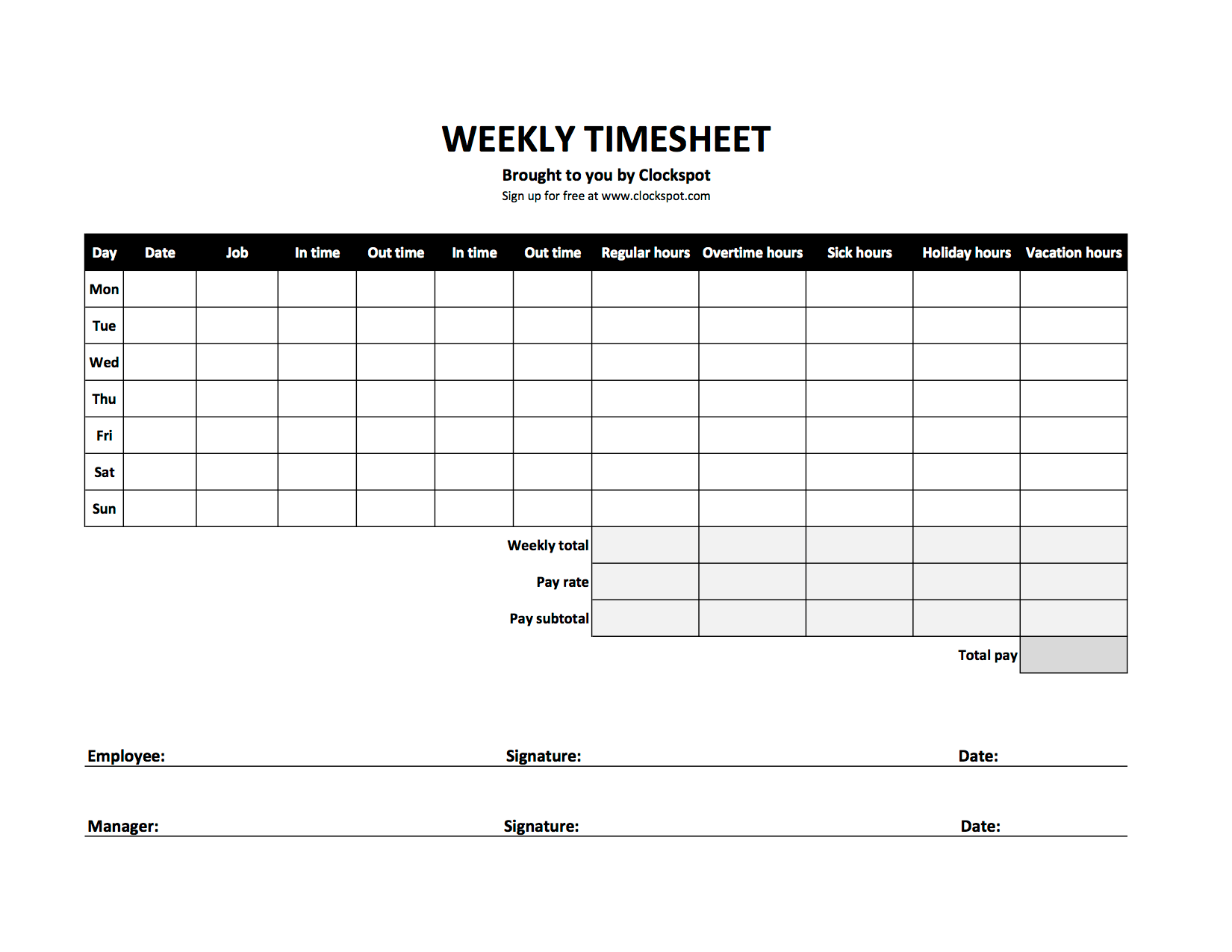 Download Time Sheet Template Excel
