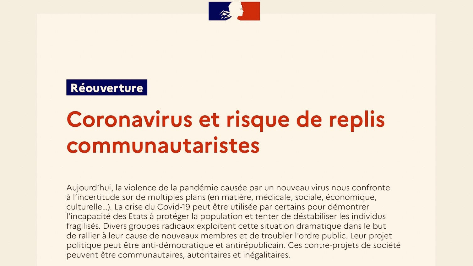 Communitarianism: Read the original document from the French Ministry of National Education
