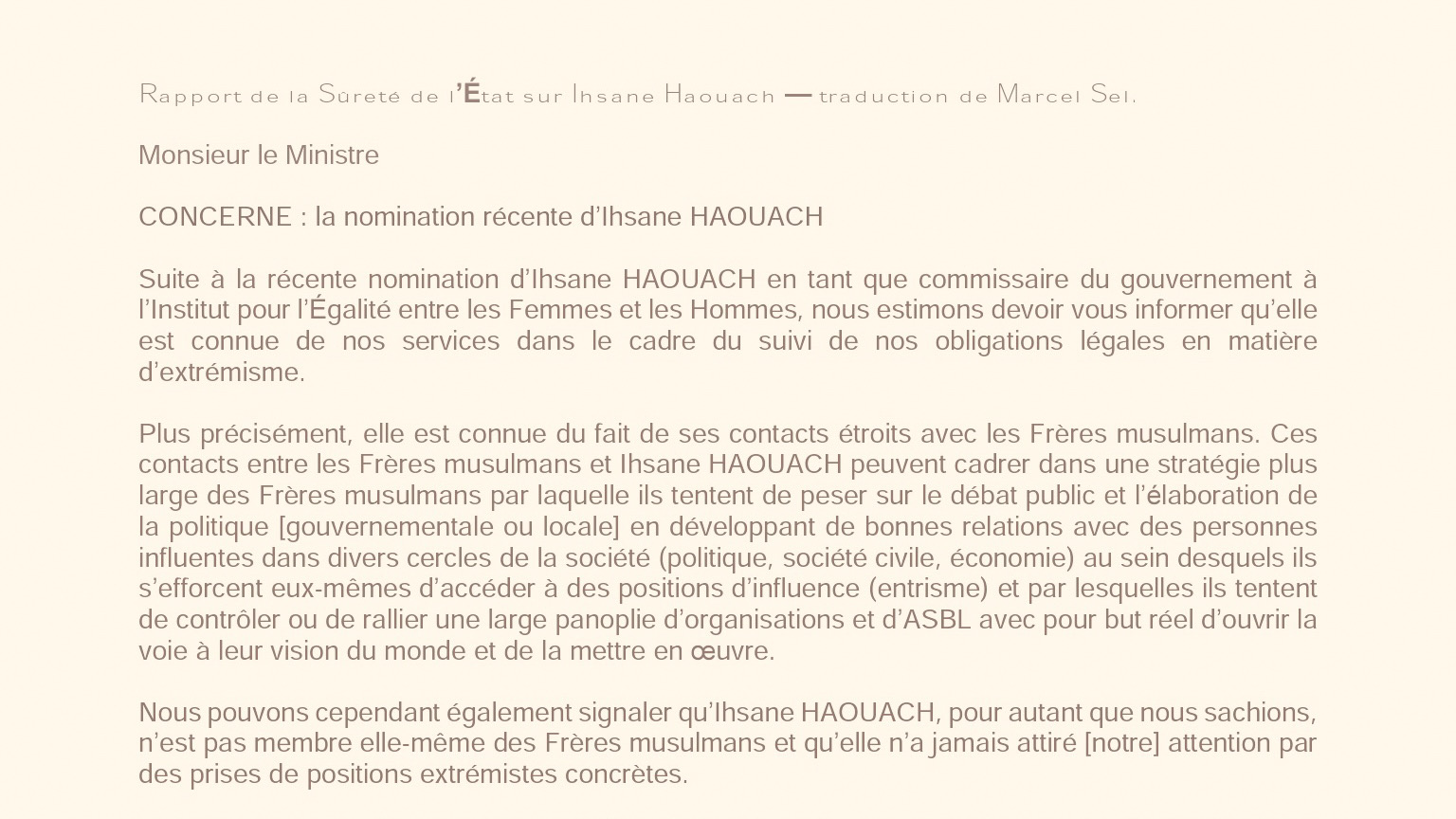 Belgian State Security Report on Ihsane Haouach's links with the Muslim Brotherhood